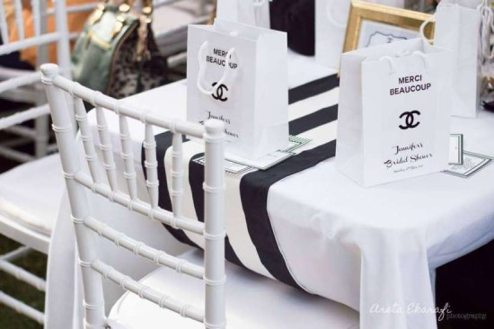 chanel inspired bridal shower party guest table setting