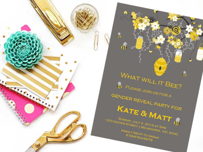 Editable baby shower invitations what will it bee gender reveal bee