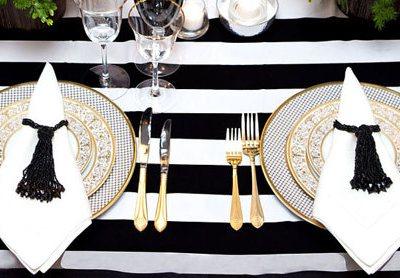 modern black and white stripe tablecloth