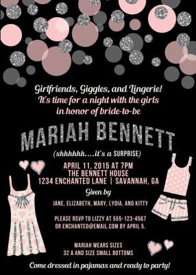 fda9e39a3fe Pajama Party Lingerie Party Invitation Pink   Black Lingerie Shower  Invitation Pink Glitter Stripes Modern Bridal