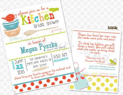 pampered chef kitchen recipe bridal shower invitation bridal shower invite wedding shower invite
