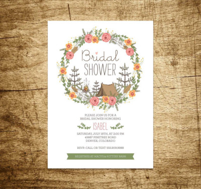 Camping themed bridal shower ideas themes for Themed bridal shower invitations