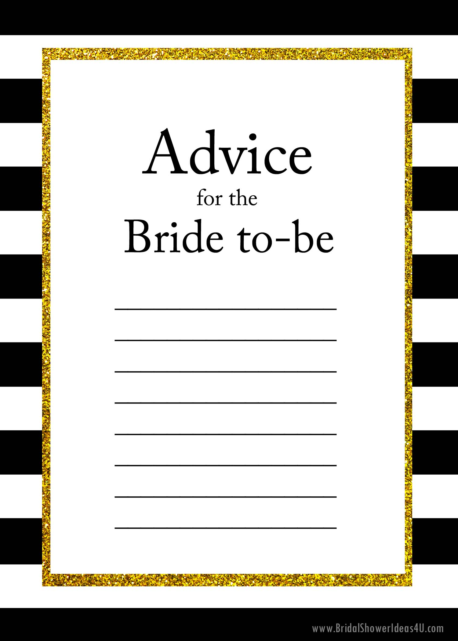 Free printable advice for the bride to be cards for Templates for bridal shower games