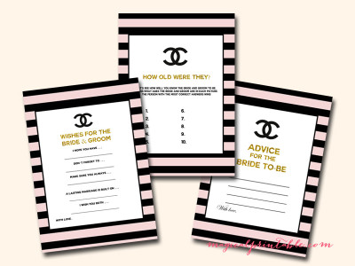 Chanel inspired bridal shower ideas themes gold chanel bridal shower game printable instant download filmwisefo