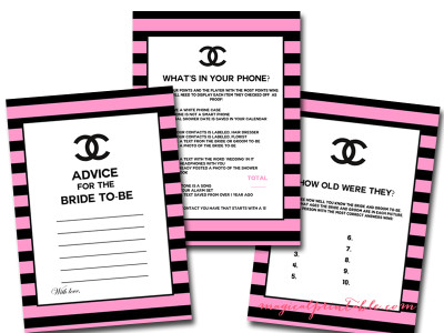 Chanel inspired bridal shower ideas themes hot pink and black chanel bridal shower game printables filmwisefo