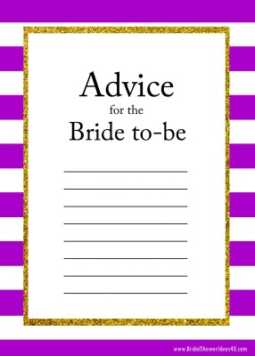 purple FREE Printable Advice for the Bride To Be Cards
