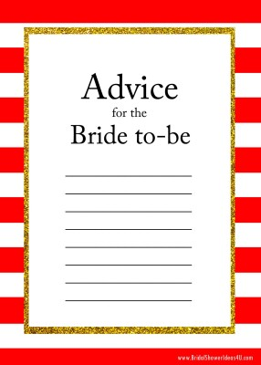 red FREE Printable Advice for the Bride To Be Cards