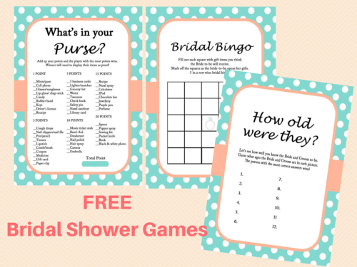 free printable bridal shower games in mint and coral