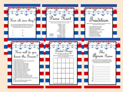 nautical bridal shower game package