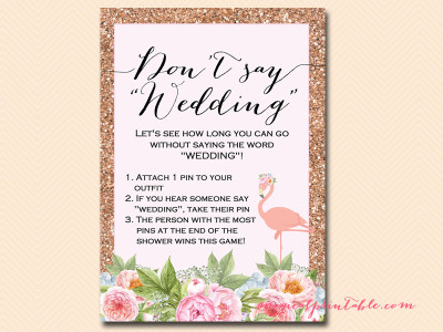 dont say wedding rose gold flamingo bridal shower