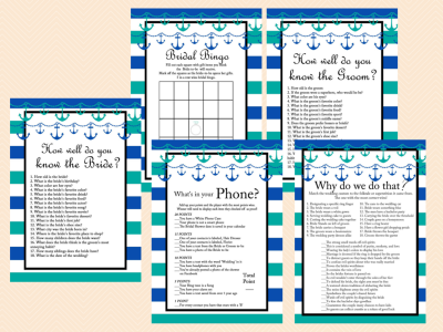teal blue white stripes nautical bridal shower games printable anchor tying the knot favors