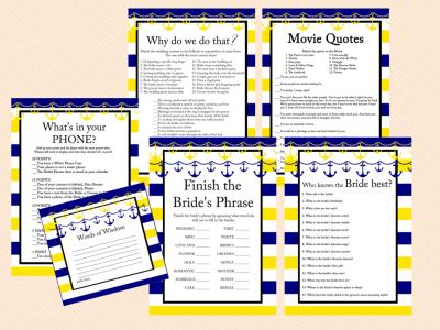 yellow blue navy nautical bridal shower game pack beach sea bs58