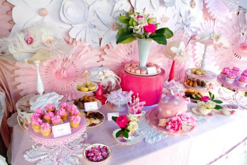 Pink and white high tea bridal shower bridal shower for Afternoon tea decoration ideas