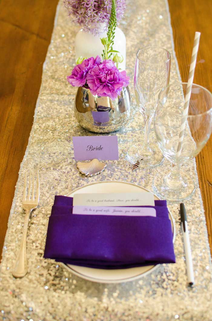 purple and silver bridal shower ideas