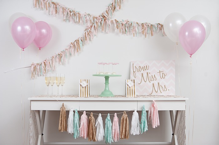 pink mint and gold bridal shower ideas