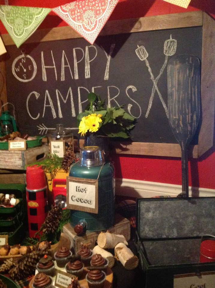 camping themed bridal shower banner