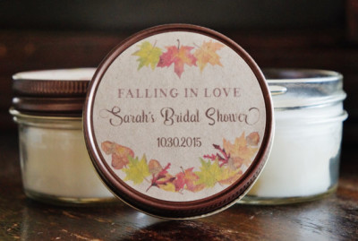 fall bridal shower candle favor falling in love bridal shower favors autumn bridal shower