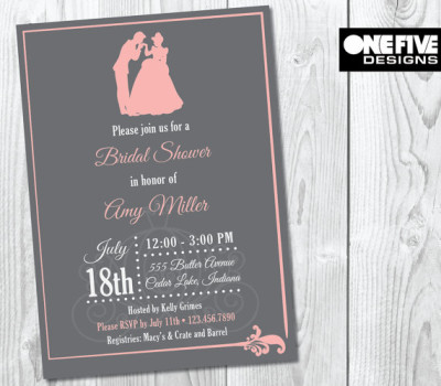 fd7eda9c06a Princess Theme Bridal Shower Invitation. OneFiveDesigns. Disney Beauty and  the Beast ...