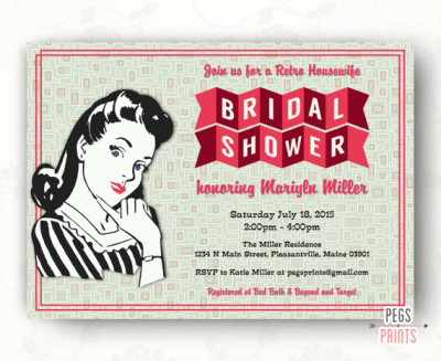 retro housewife bridal shower invitation printable retro kitchen shower invitation 50s bridal shower