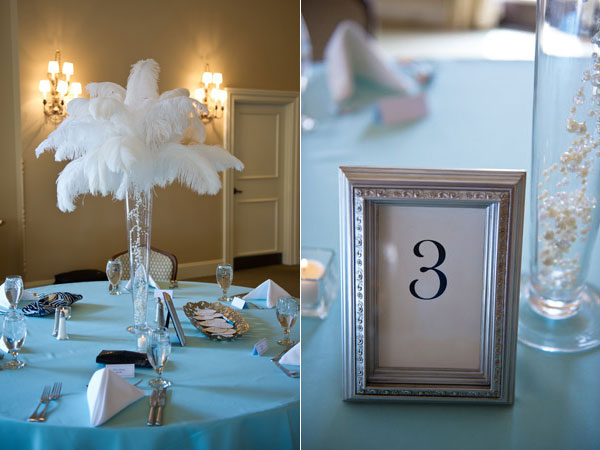 blue inspired bridal shower guest tables