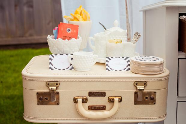 vintage modern bridal shower vintage luggage decor