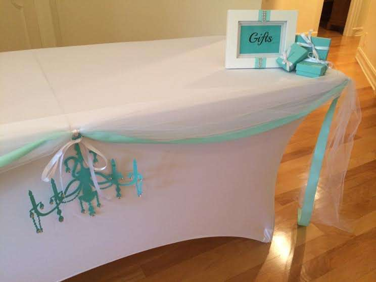 breakfast-at-tiffanys-gift-table Ideas For Kitchen Theme Bridal Shower on bridal shower party decoration ideas, bridal shower wedding decoration idea, bridal shower travel theme party, diy kitchen theme ideas, bridal shower picnic theme, bridal shower shower theme, beach kitchen theme ideas,