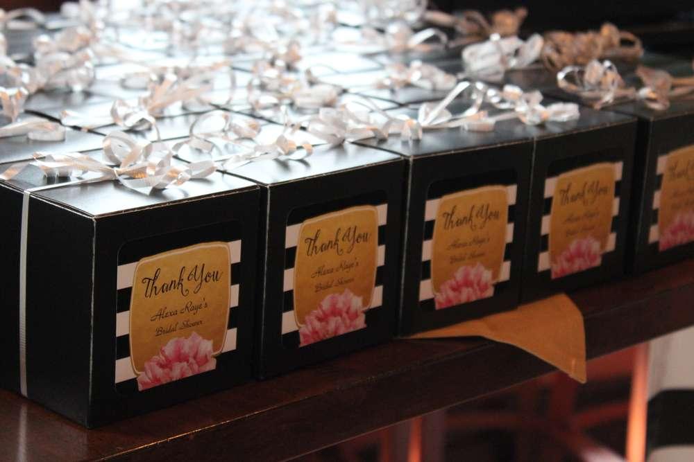 kate spade themed bridal shower favor boxes black