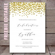 bs281 free editable gold bridal shower invitations printable