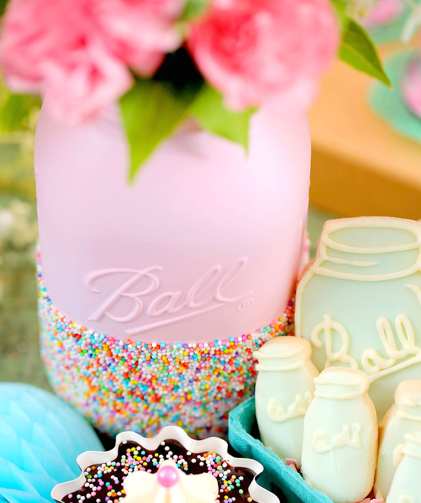 country chic bridal shower mason jars with sprinkles