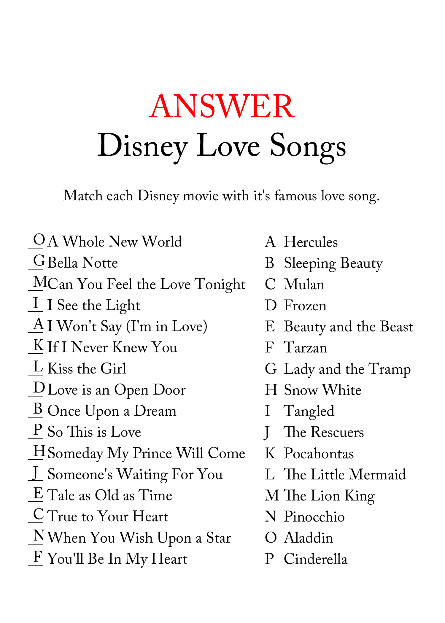 FREE Disney Love Song Bridal Shower Game - Bridal Shower
