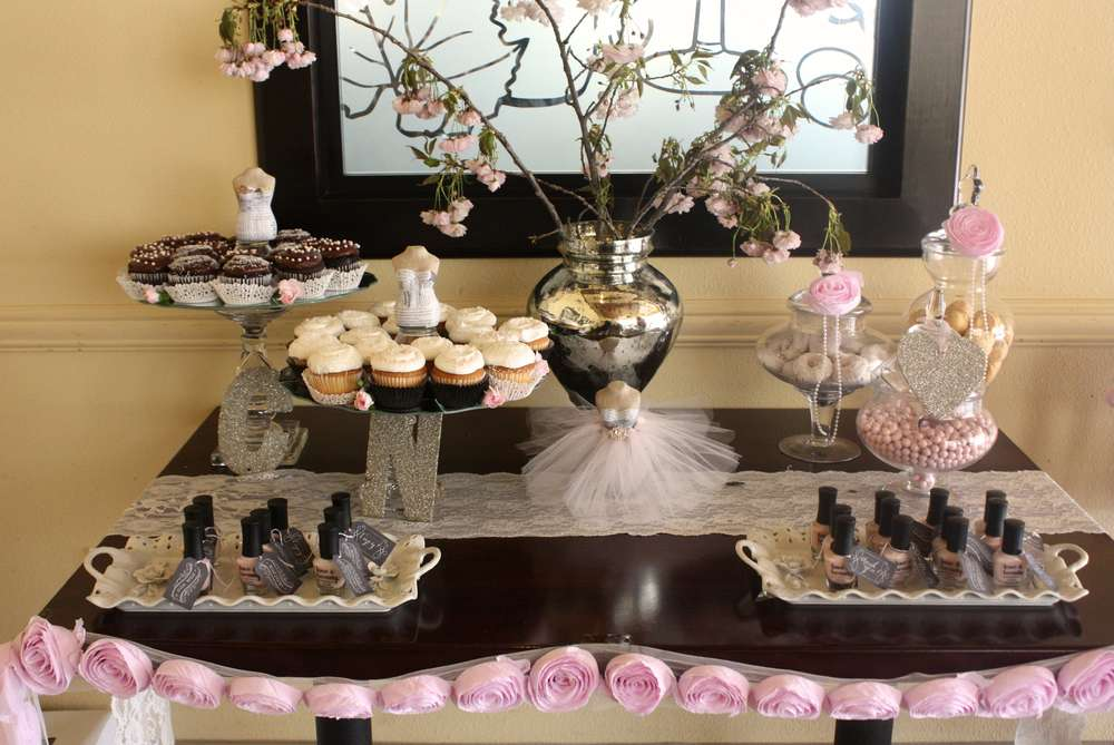 elegant bridal shower sweet table with paper flowers