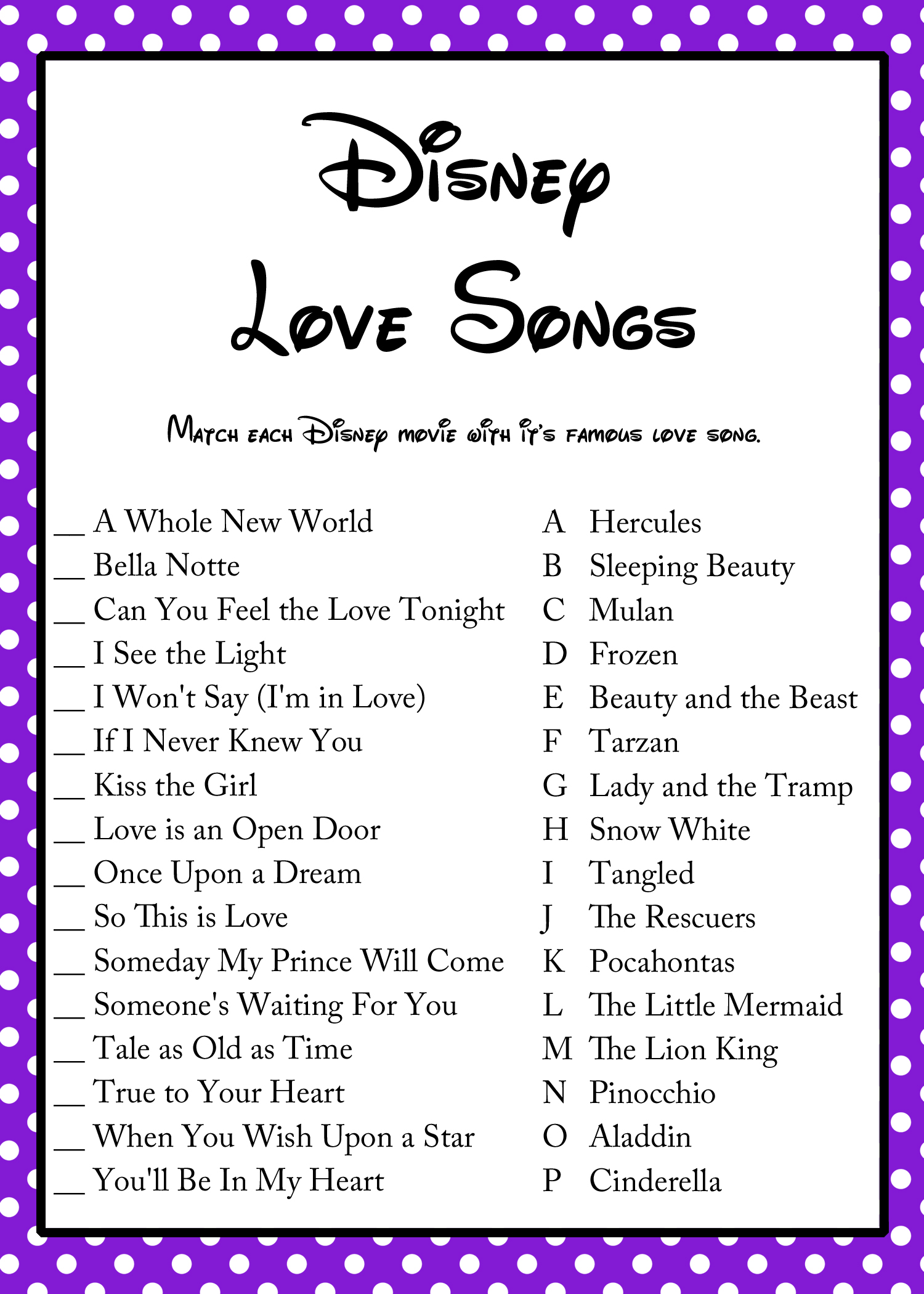 FREE Disney Love Song Bridal Shower Game Bridal Shower Ideas