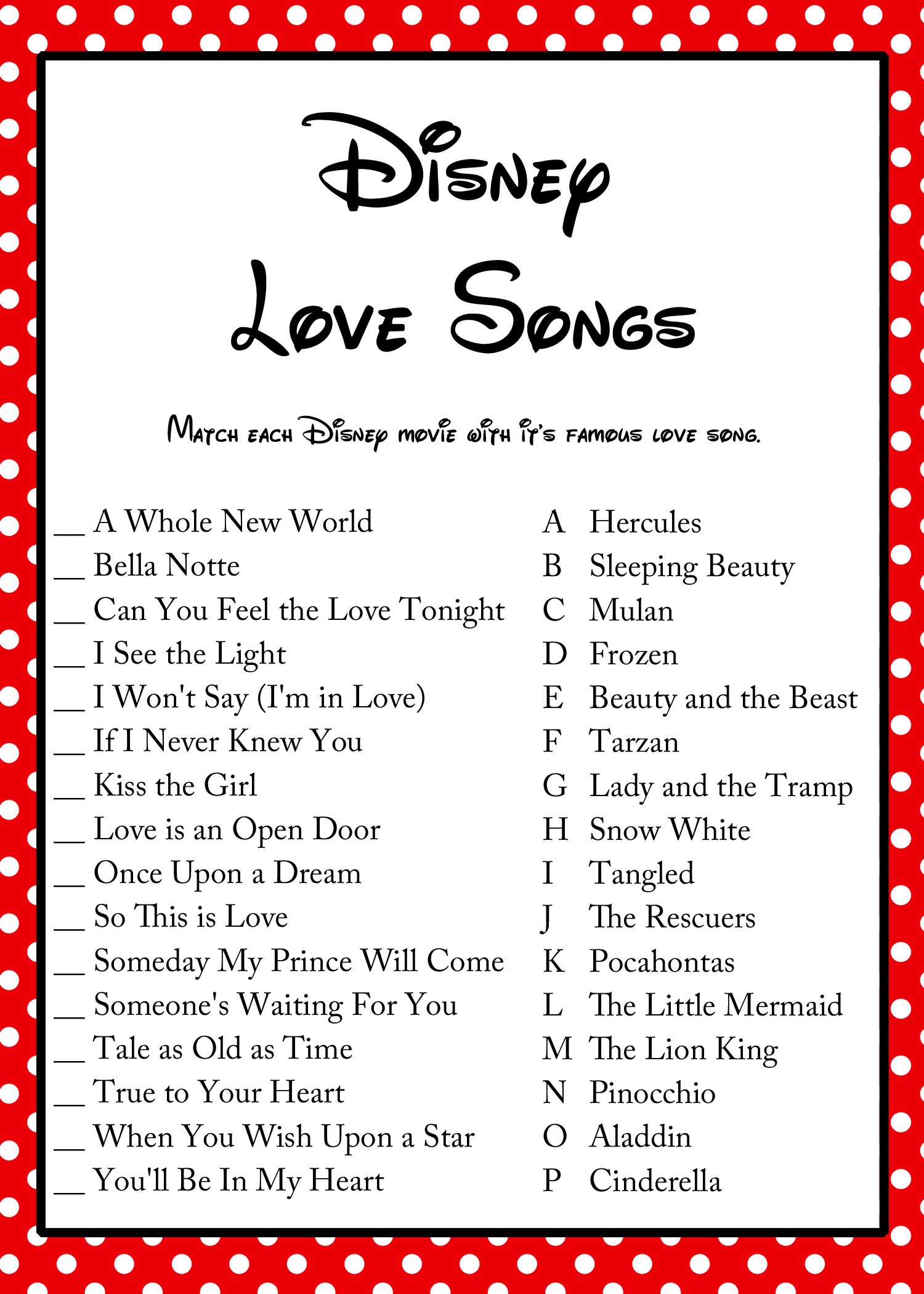 FREE Disney Love Song Bridal Shower Game - Bridal Shower ...