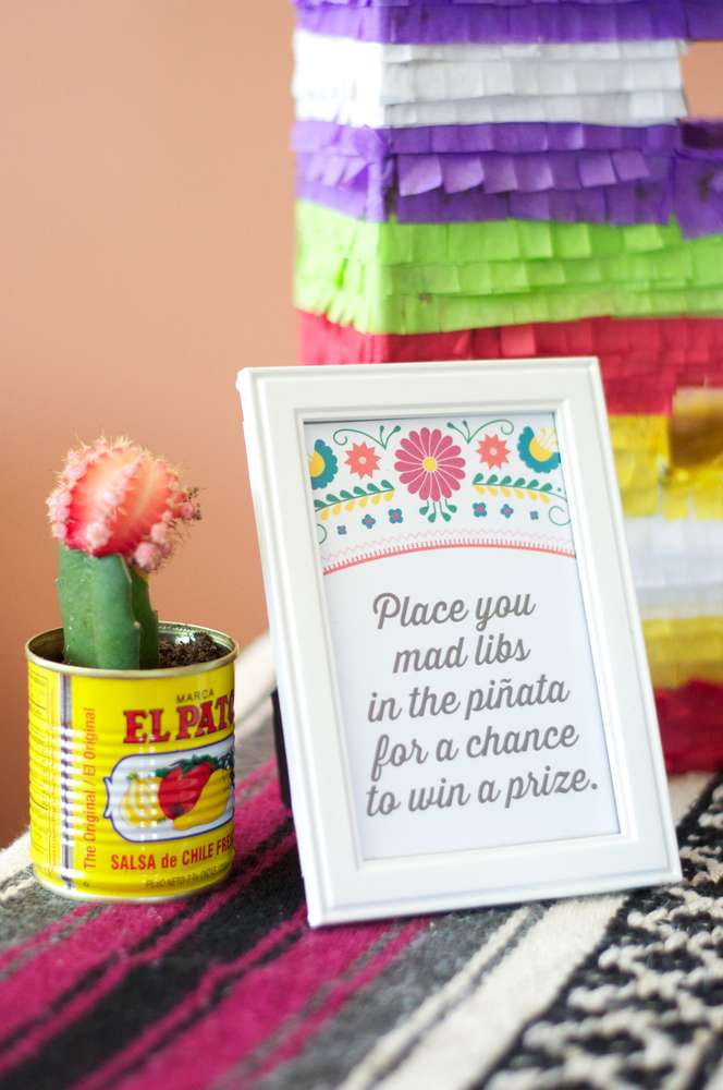colorful fiesta bridal shower mad lib pinata