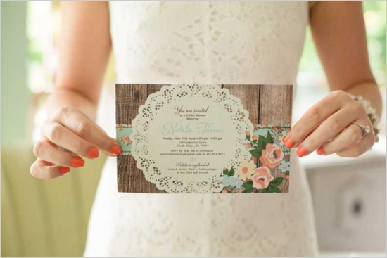 Mint And Peach Vintage Bridal Shower Invitations