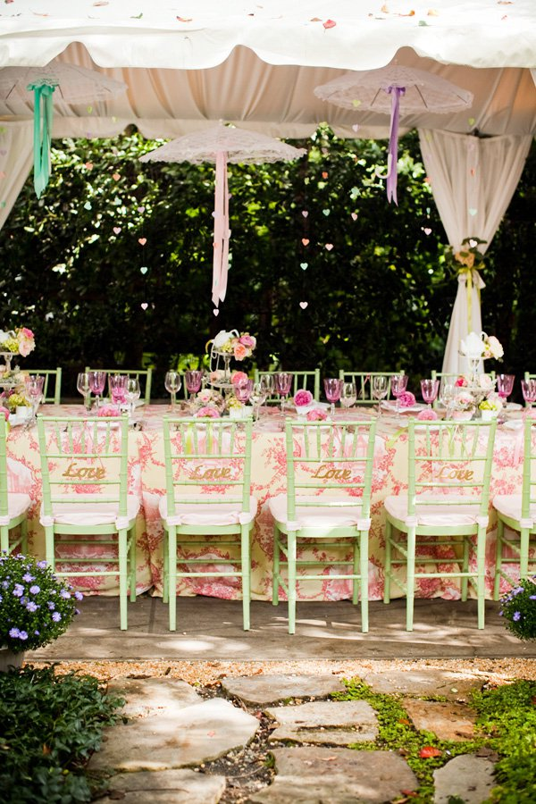 Outdoor Decorations For Wedding Shower : Outdoor vintage lace tea party bridal shower