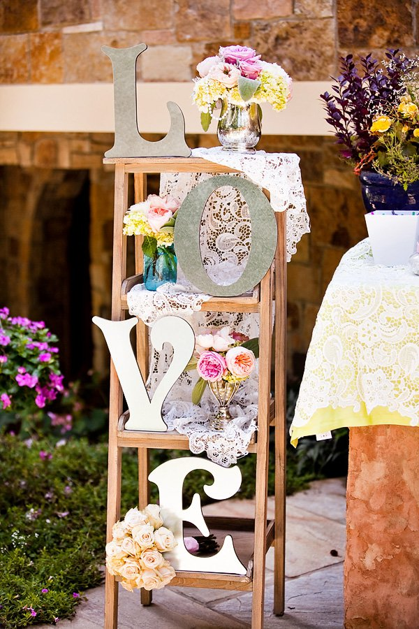 Outdoor vintage lace tea party bridal shower