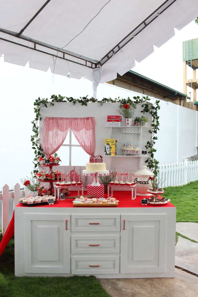 retro red and white bridal shower dessert table