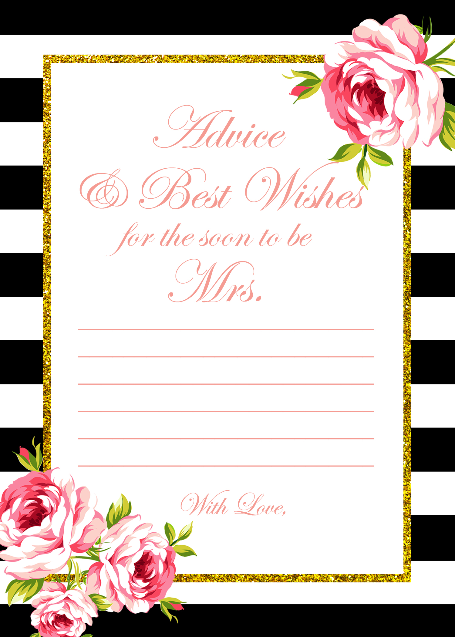 Free gold black stripes bridal shower games bridal for Templates for bridal shower games