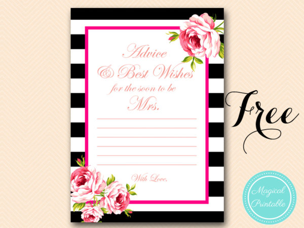 Free gold black stripes bridal shower games bridal for Bridal shower advice cards template