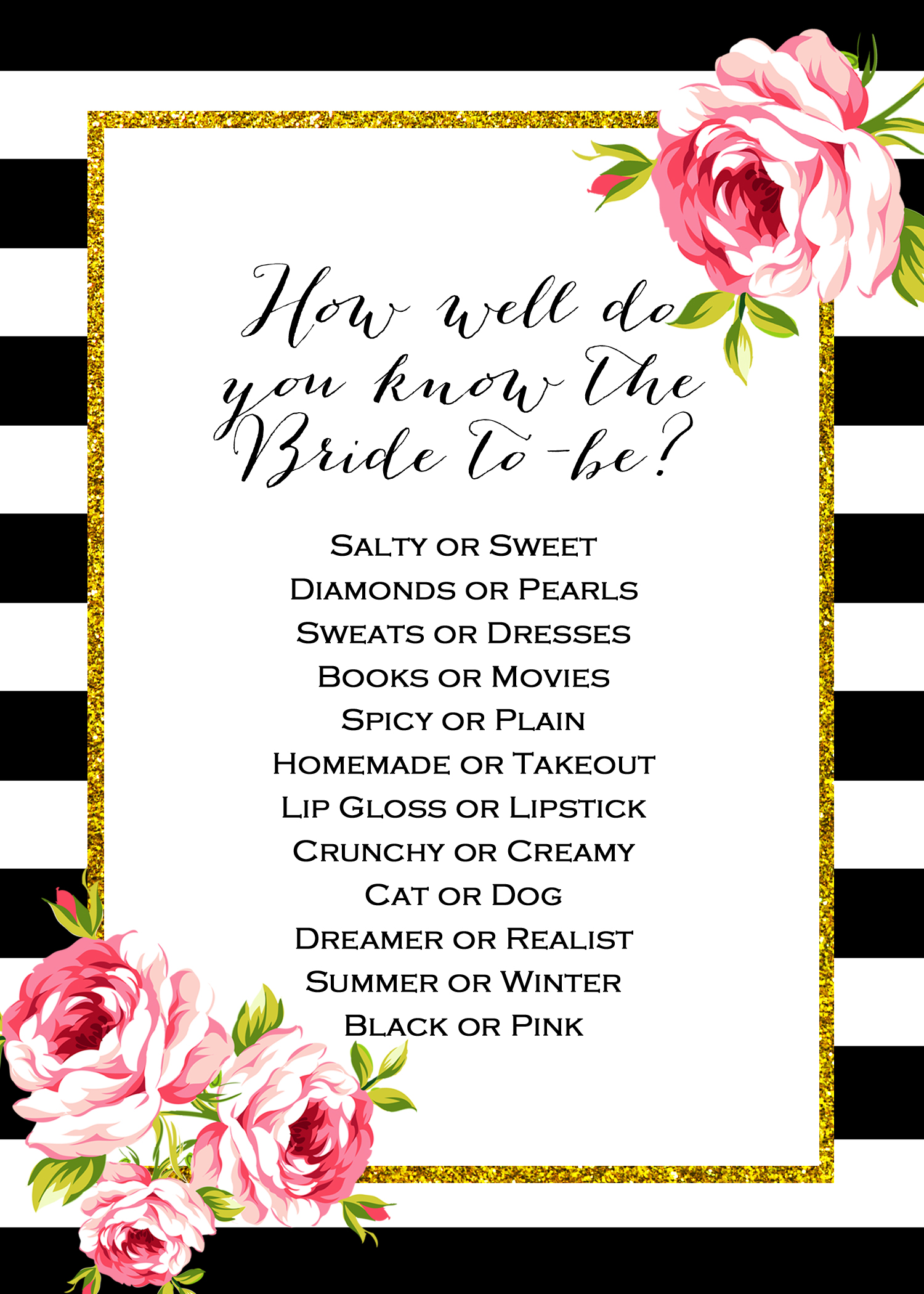Free Gold Black Stripes Bridal Shower