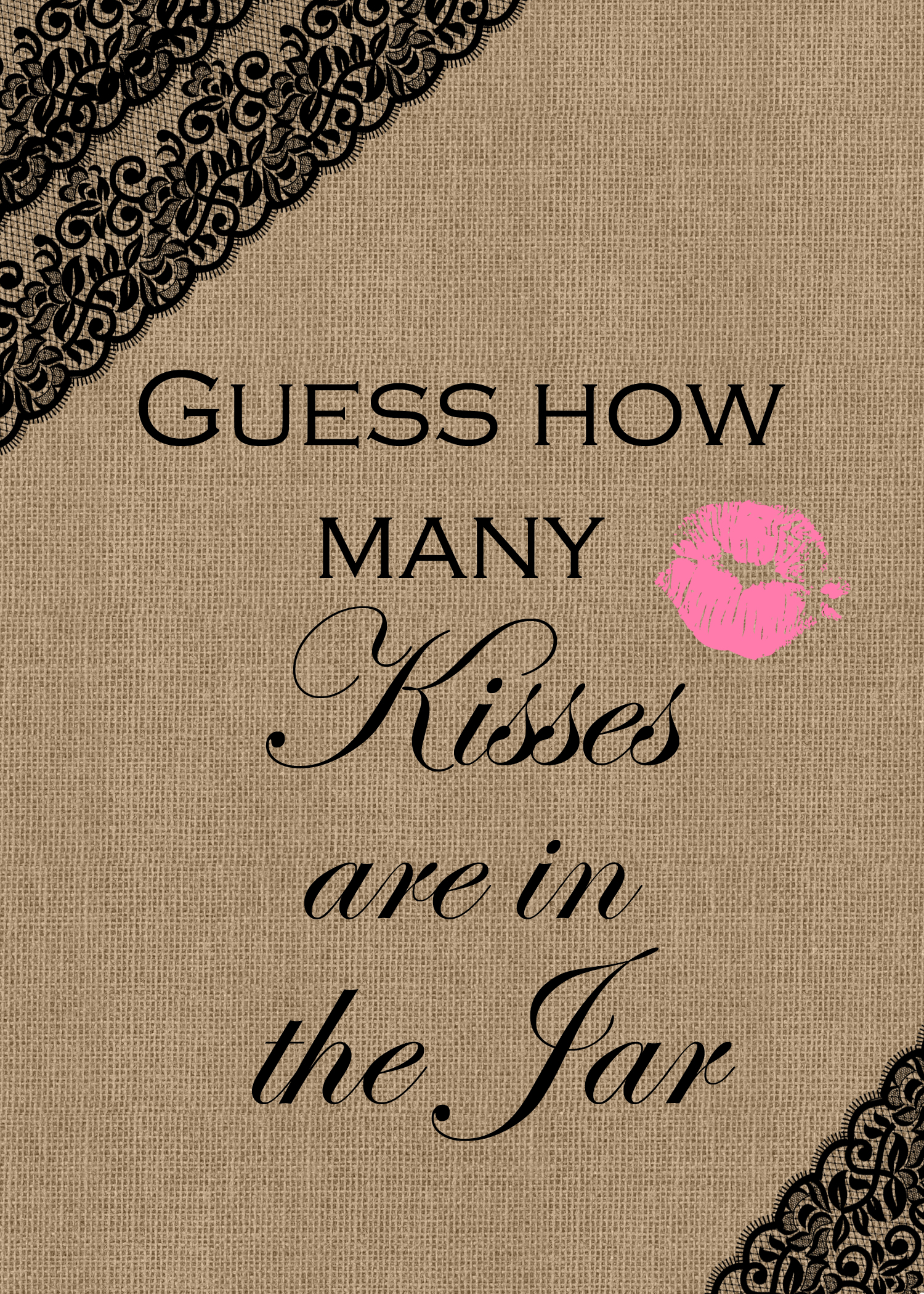Dramatic image for how many kisses for the soon to be mrs free printable