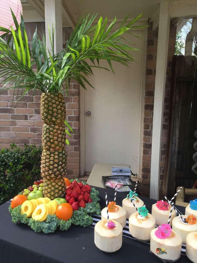 colorful spanish garden shower pineapple tree