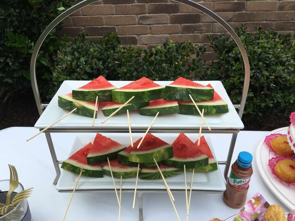colorful spanish garden shower watermelon