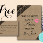 Free Black Lace Burlap How Many Kisses in the Jar Game