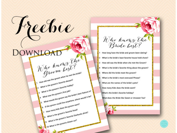 d083dec5aec Free Pink Bridal Shower Game - Who Knows Bride   Groom - Bridal ...