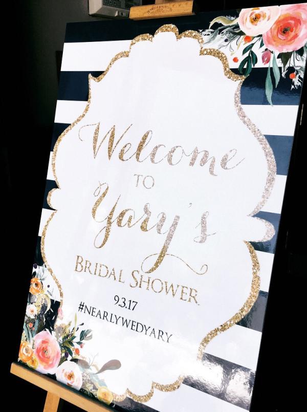 floral-gold-glitter-bridal-shower-welcome-sign
