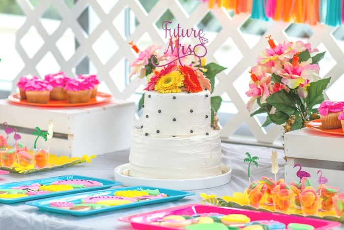 pink tropical bridal shower layered cake