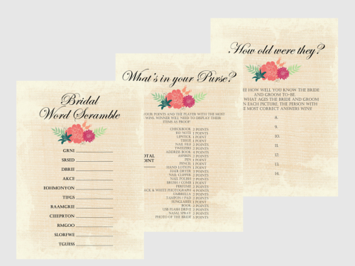 photo regarding What's in Your Purse Free Printable named No cost Printable Bridal Shower Game titles - Bridal Shower Recommendations