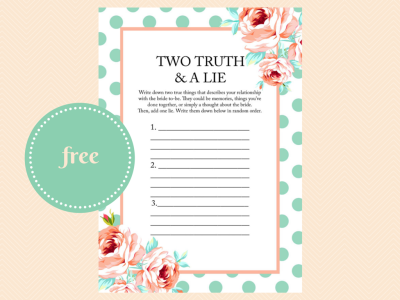 two truths and a lie bridal shower game